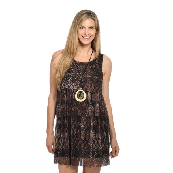 Snake print mesh tiered dress