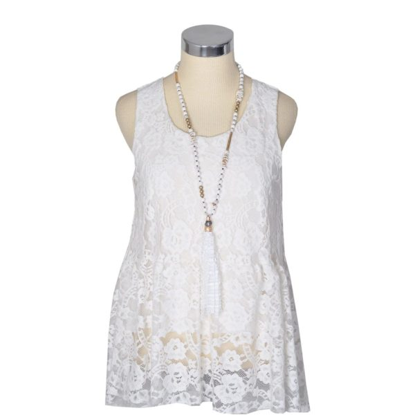 Lace sleeveless frill top