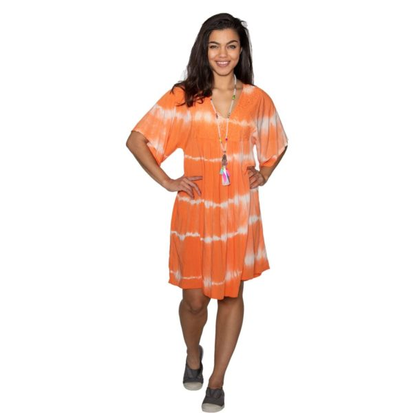 Tie-dye lace yoke dress