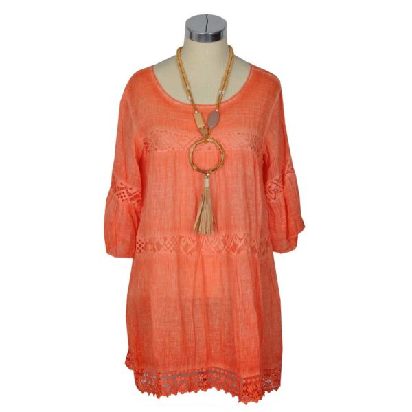Washed lace insert tunic