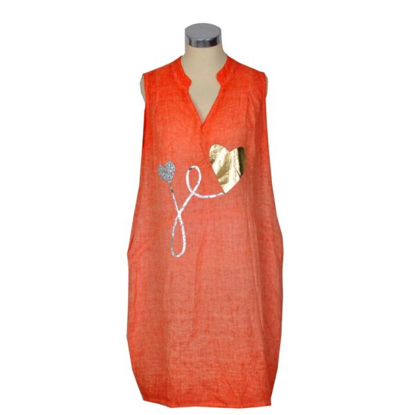 Linen sleeveless foil heart dress