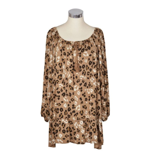 Gathered leopard print dress