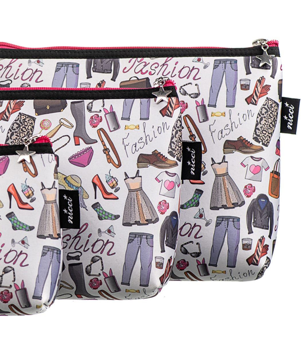 Neoprene fashion print cosmetic bag