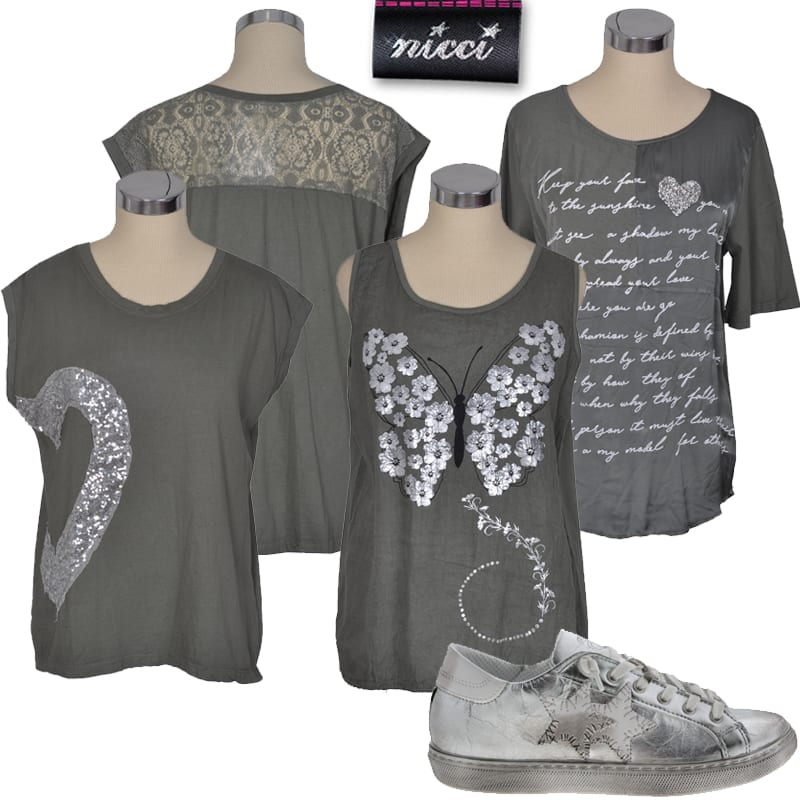 Sequin heart lace top