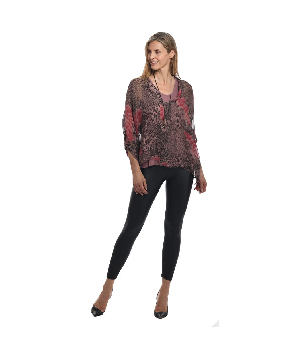 Silky double layered rose animal print top