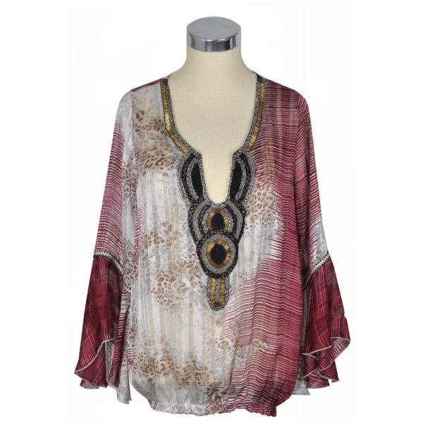 Silky animal print beaded tunic