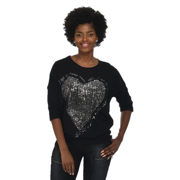 Giant sequin heart top