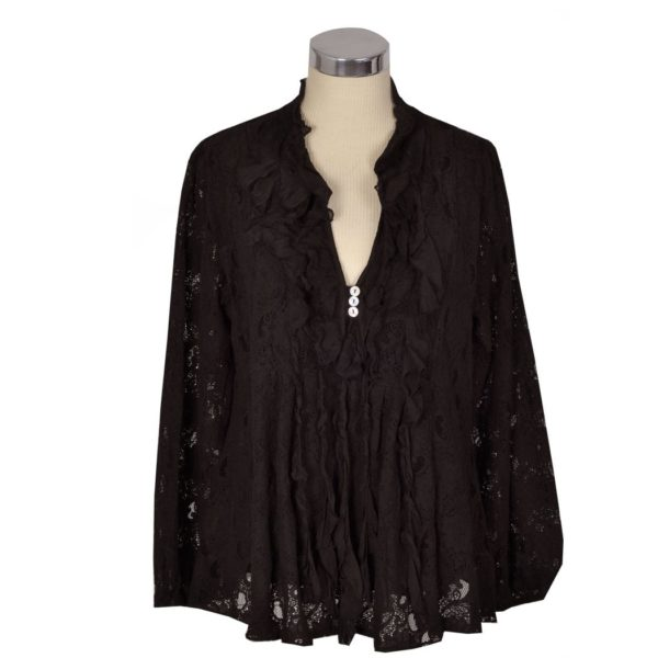 Frilled v-neck lace shirt