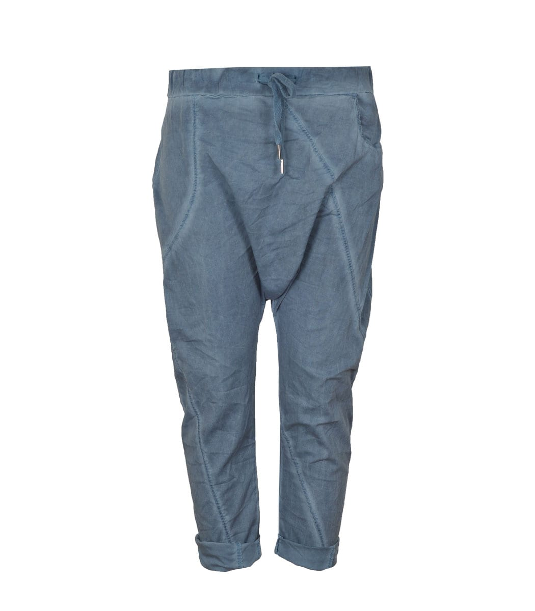 Washed cotton panel pants