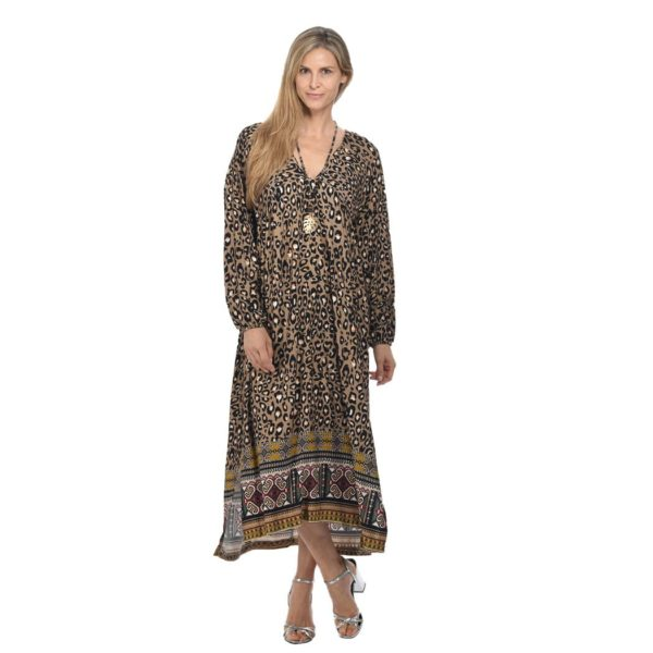 Leopard border print maxi dress