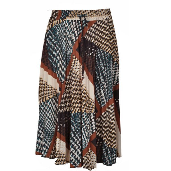 Check patch print pleated skirt