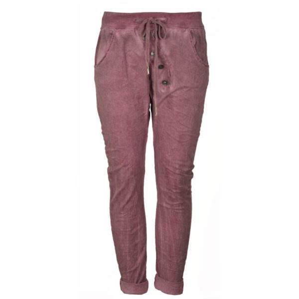 2-Textured diagonal button pants
