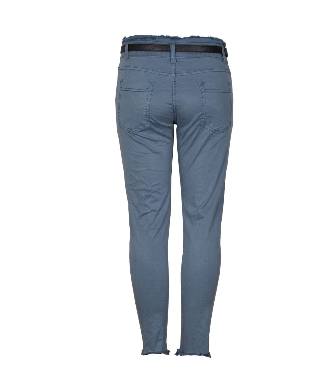 Belted raw edge pants