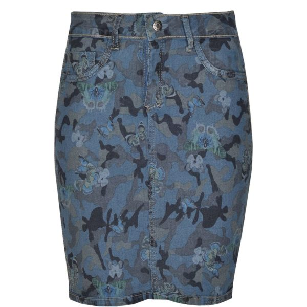 Reversible butterfly camou denim skirt