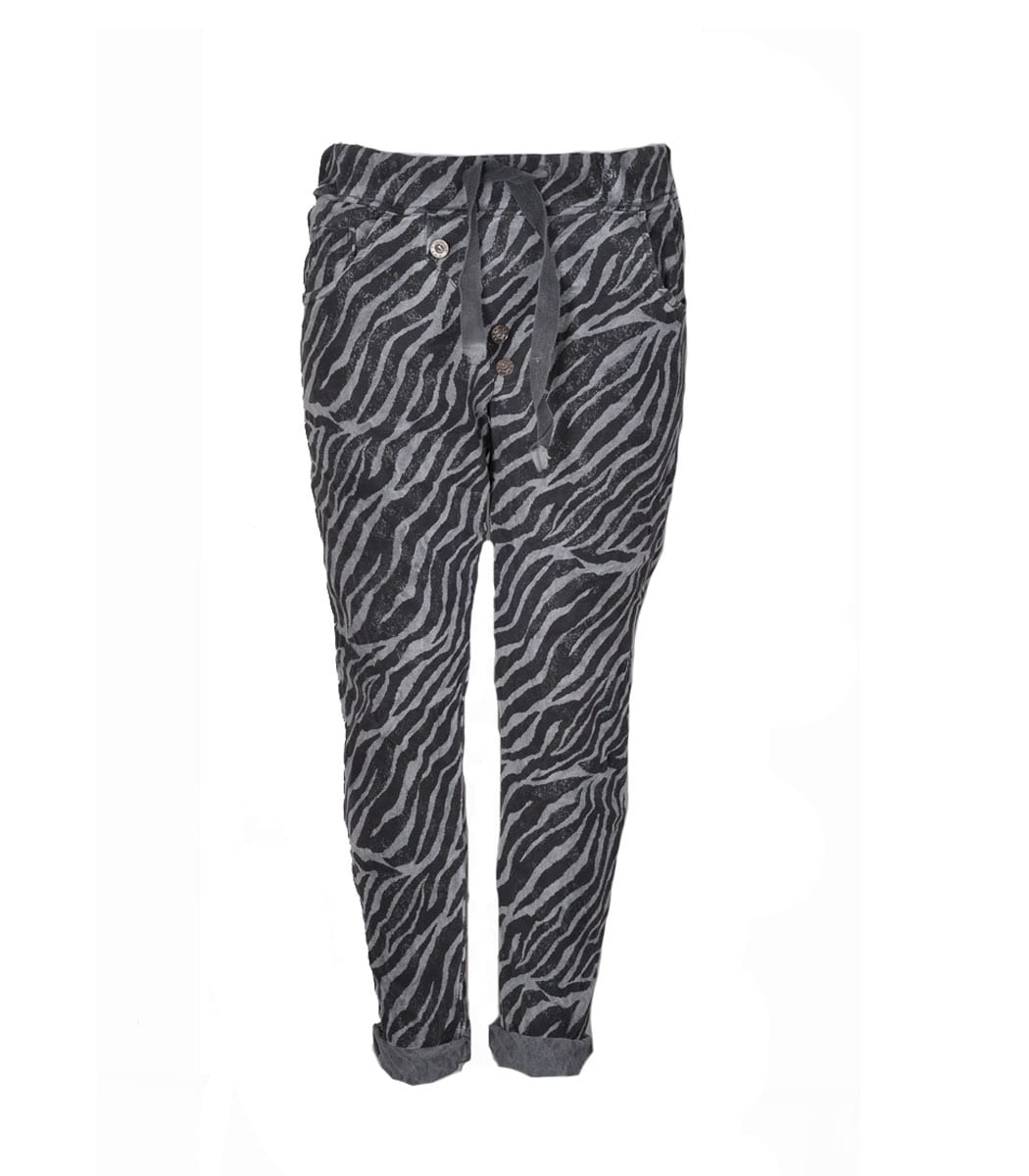 Diagonal button zebra print pants