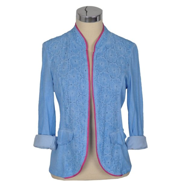Front lace piped blazer