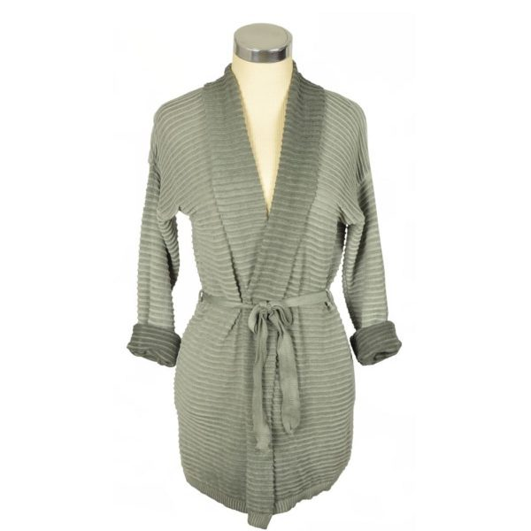 Ribbed belted cardi