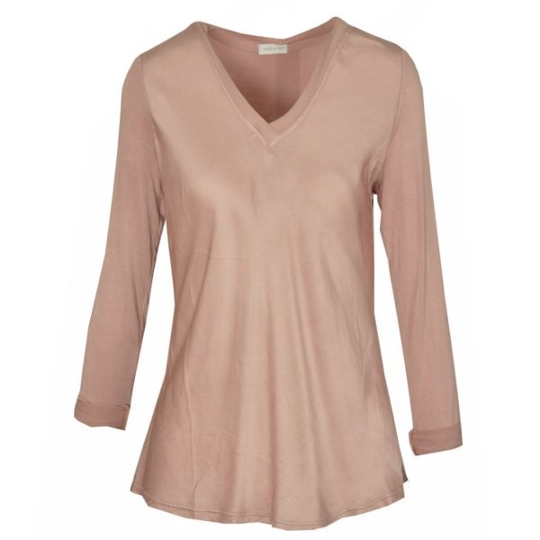 Satin front long sleeve top