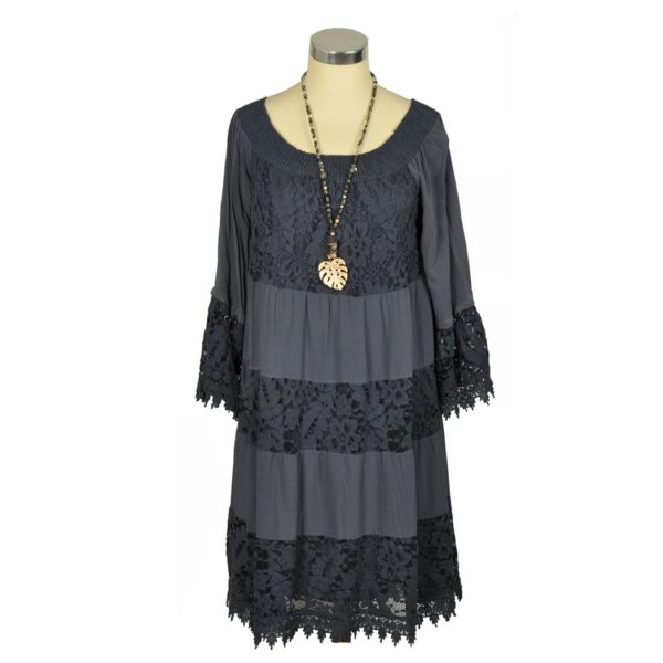 Shirring lace panel dress