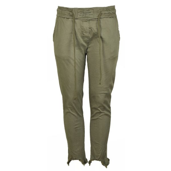Raw-hem draw-string pants