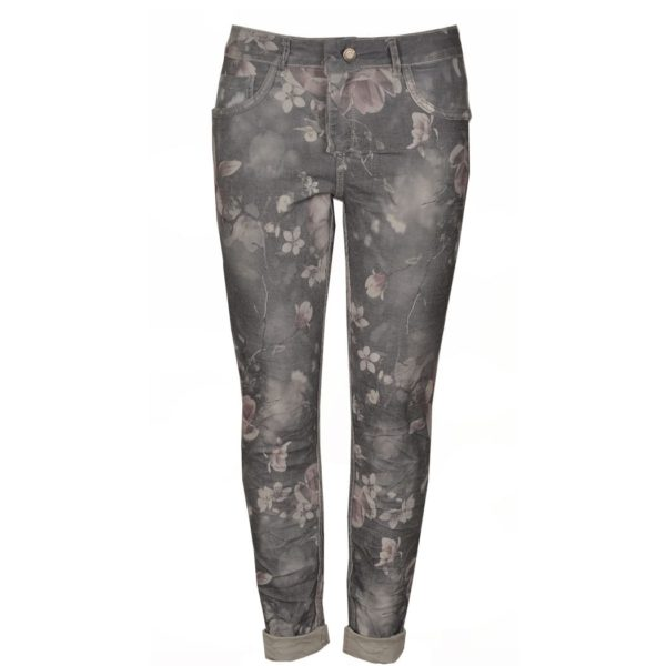 Reversible pink rose jeans