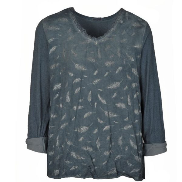 Front feather print top