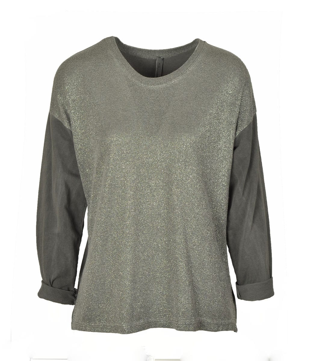Lurex front long sleeve top