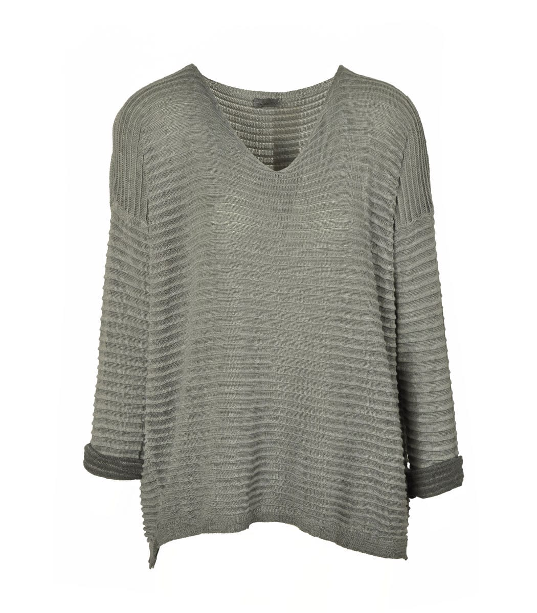 Rib stripped knit top