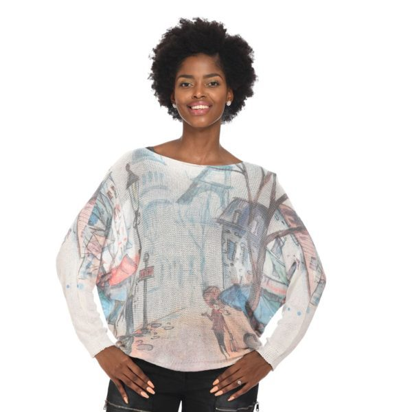 Lantern print back zip fine knit top