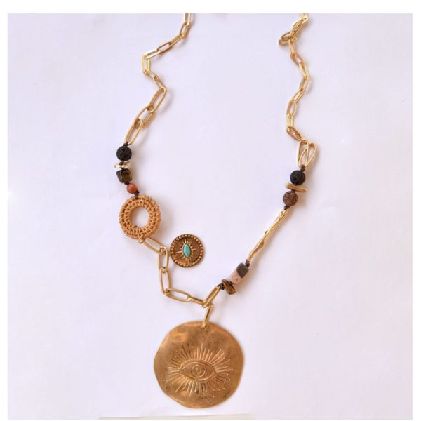 Long eye disc oval necklace