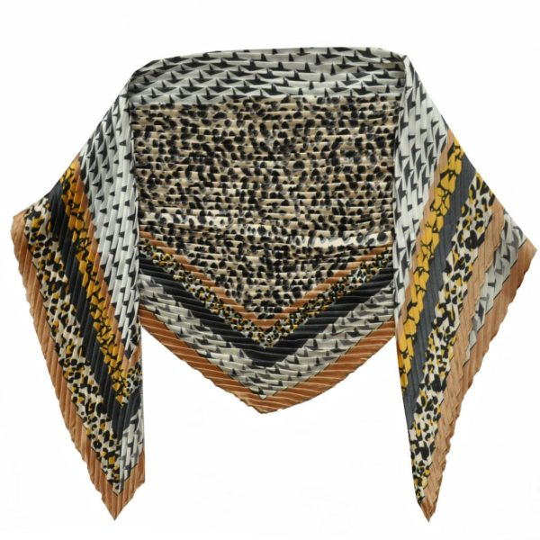 Pleated animal & houndstooth scarf