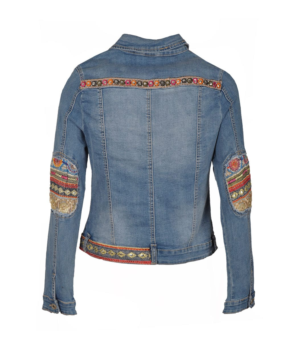 Embroidered braided denim jacket