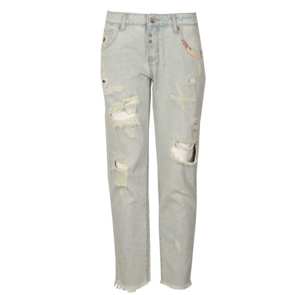 Torn raw-hem denim pants
