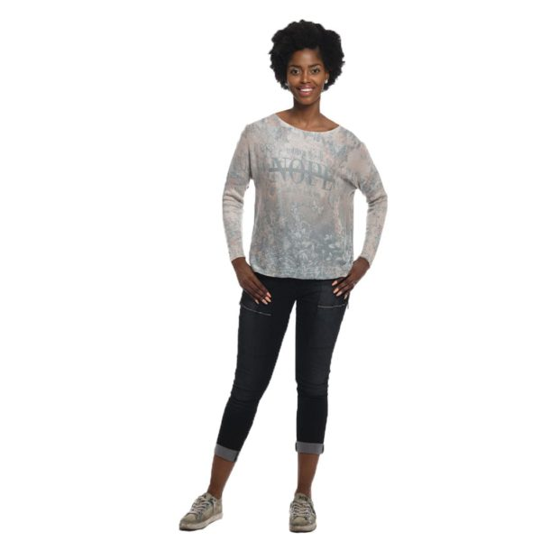 Faded nope print knit top