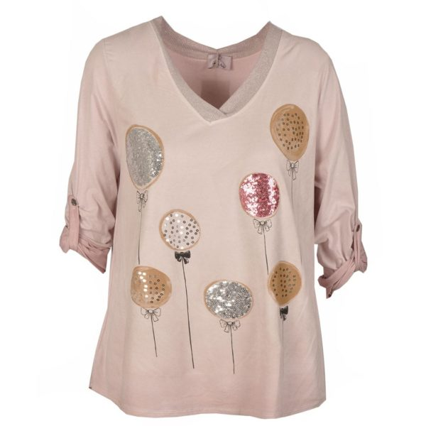 Balloon sequin rose top