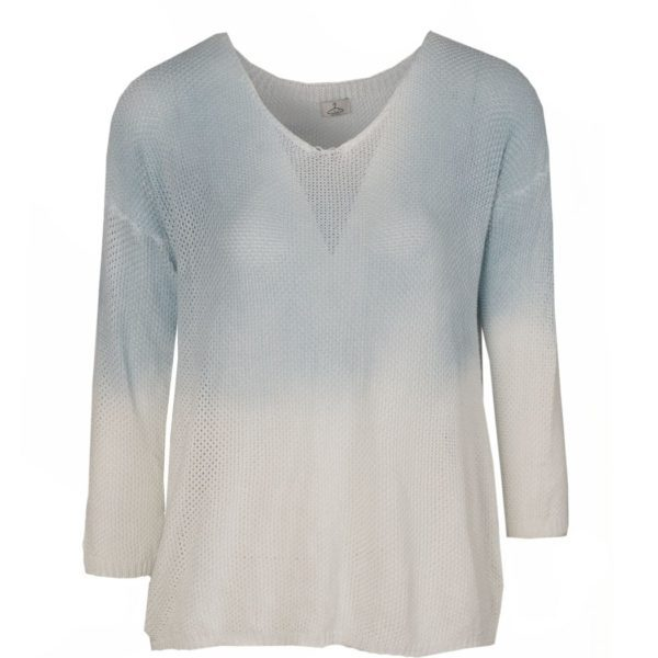 Dip-dye curve knit top