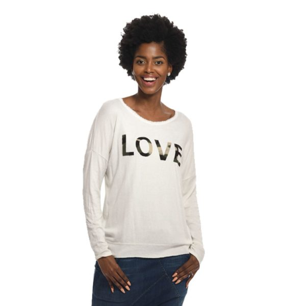Love applique lurex trim top