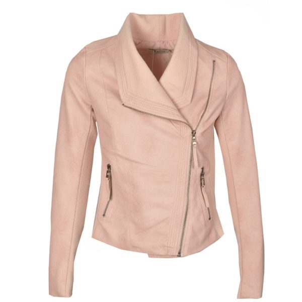 Crushed leatherette knit zip jacket