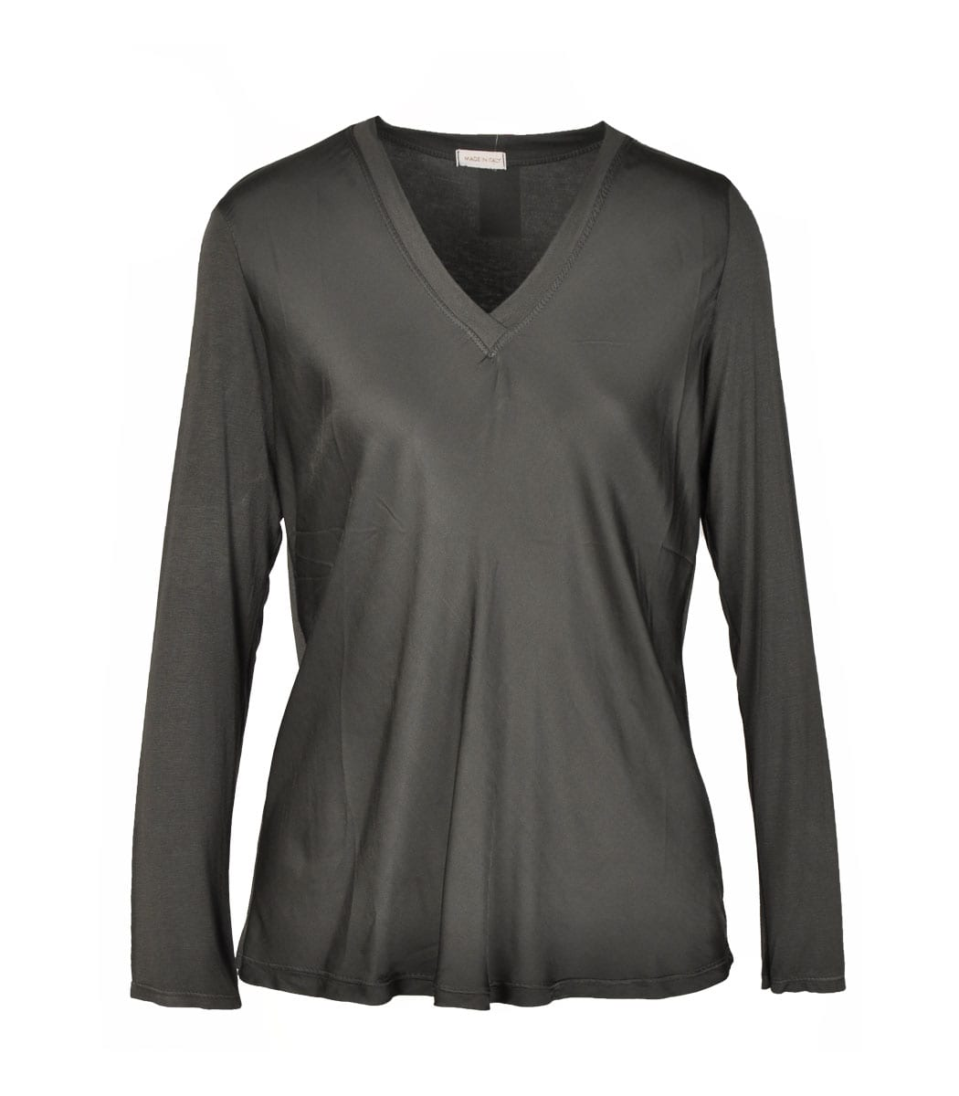 Satin front long sleeve v-neck top