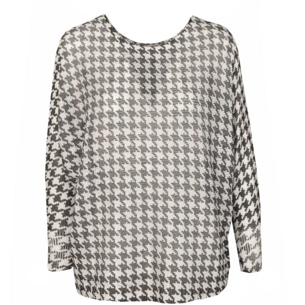Hounds-tooth knit boxy top