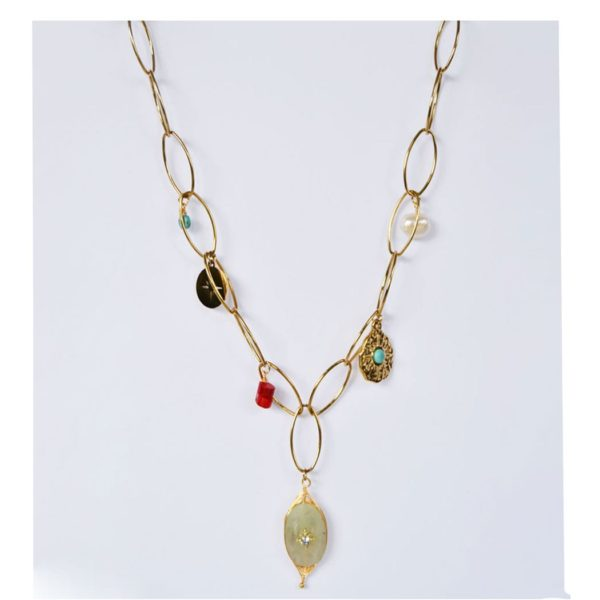 Precious stone link chain necklace