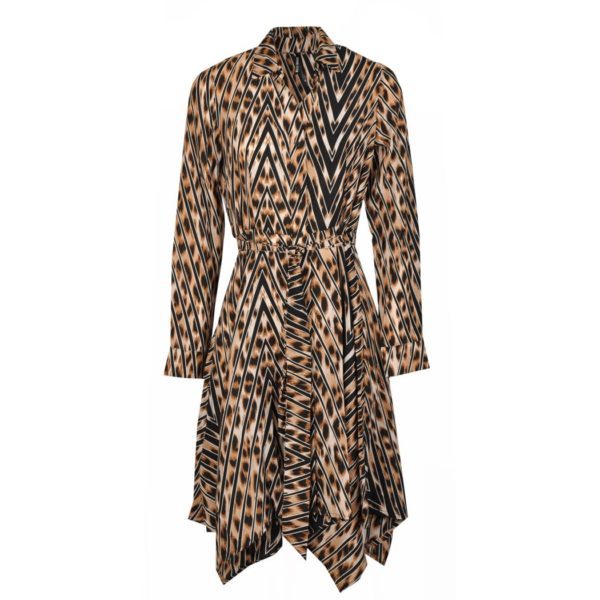 Animal print pointy shirt dress