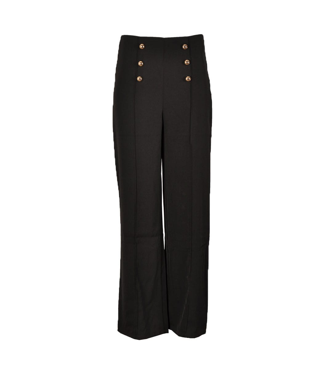 Gold button front pants