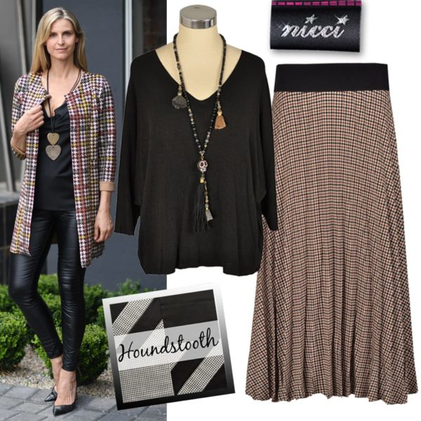 Pleated hound tooth skirt