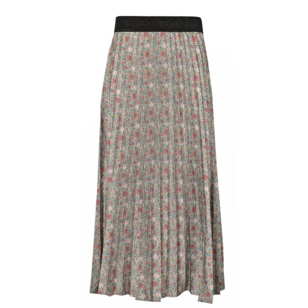Pleated floral print maxi skirt