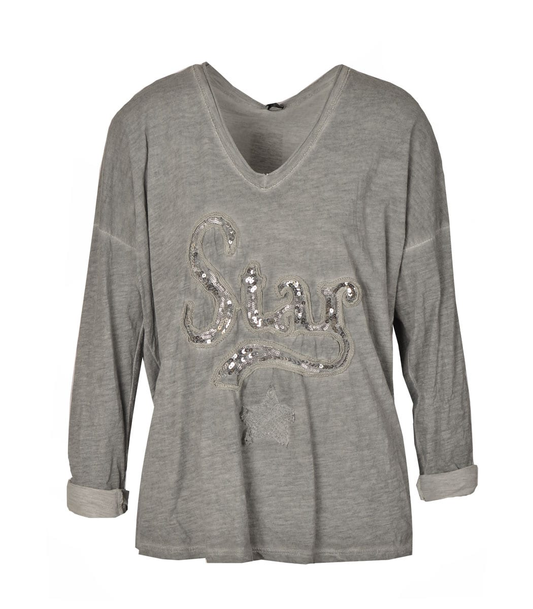 Star slouchy sequin top