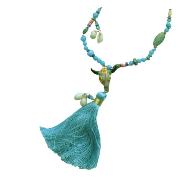 Bul skull giant tassel necklace