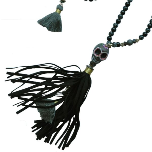 Bull skull giant tassel necklace