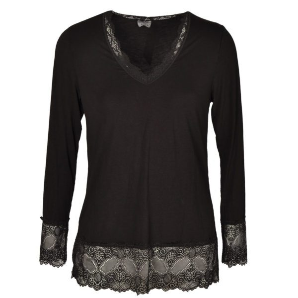 Wide lace trim long sleeve top
