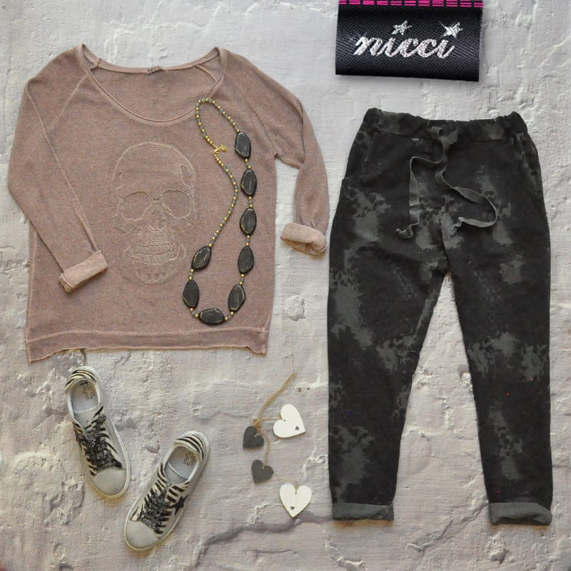 Embroidered skull knit top